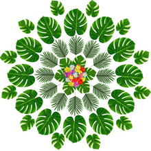 Artificial turtle back leaf 36 piece set, 12 sheets 13 inches, 8 of tailed sunflower party decoratio