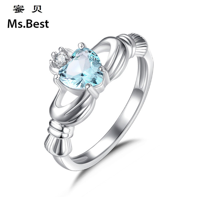 Solid 925 Sterling Silver Claddagh Rings For Women Heart Crown Jewellery Irish Wedding Ring Blue Birthstone