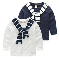 Boys T Shirts Autumn Navy Style Baby Boy T Shirt Striped Scarf Handsome Children Tops Casual