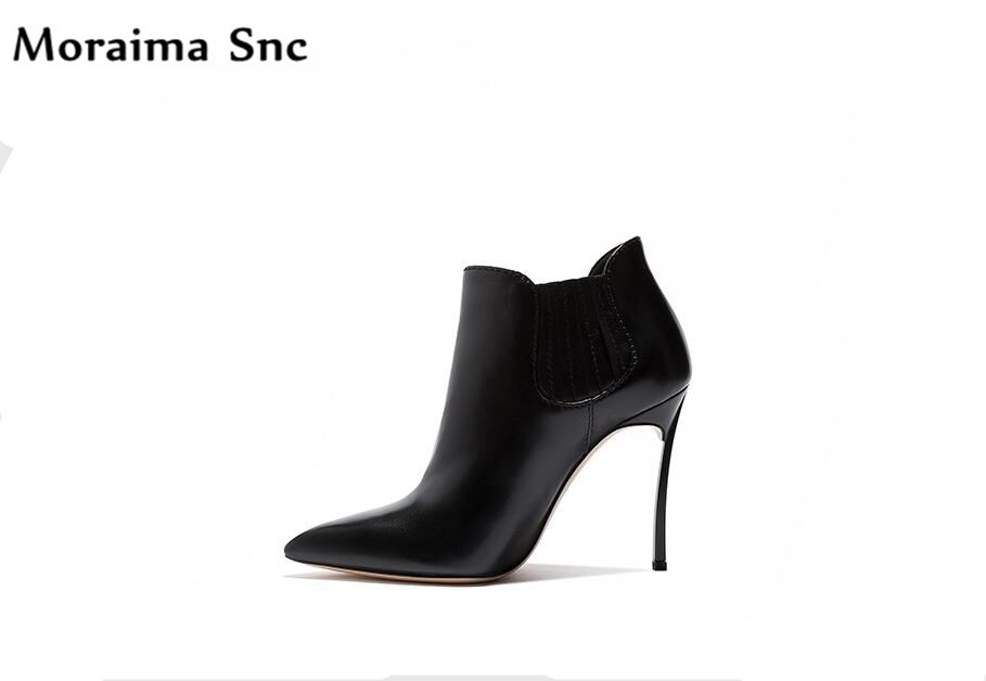 все цены на Moraima Snc fashion women Riding boots platform pointed toe high heel Ankle boots solid Rome style handmade Casual shoes