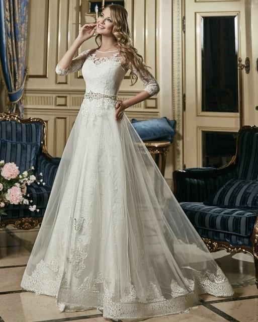 Vestidos de novia A-Line Lace Wedding Dress with Sleeves Bead Belt Vintage wedding dress Bridal Gown Cheap Wedding gowns