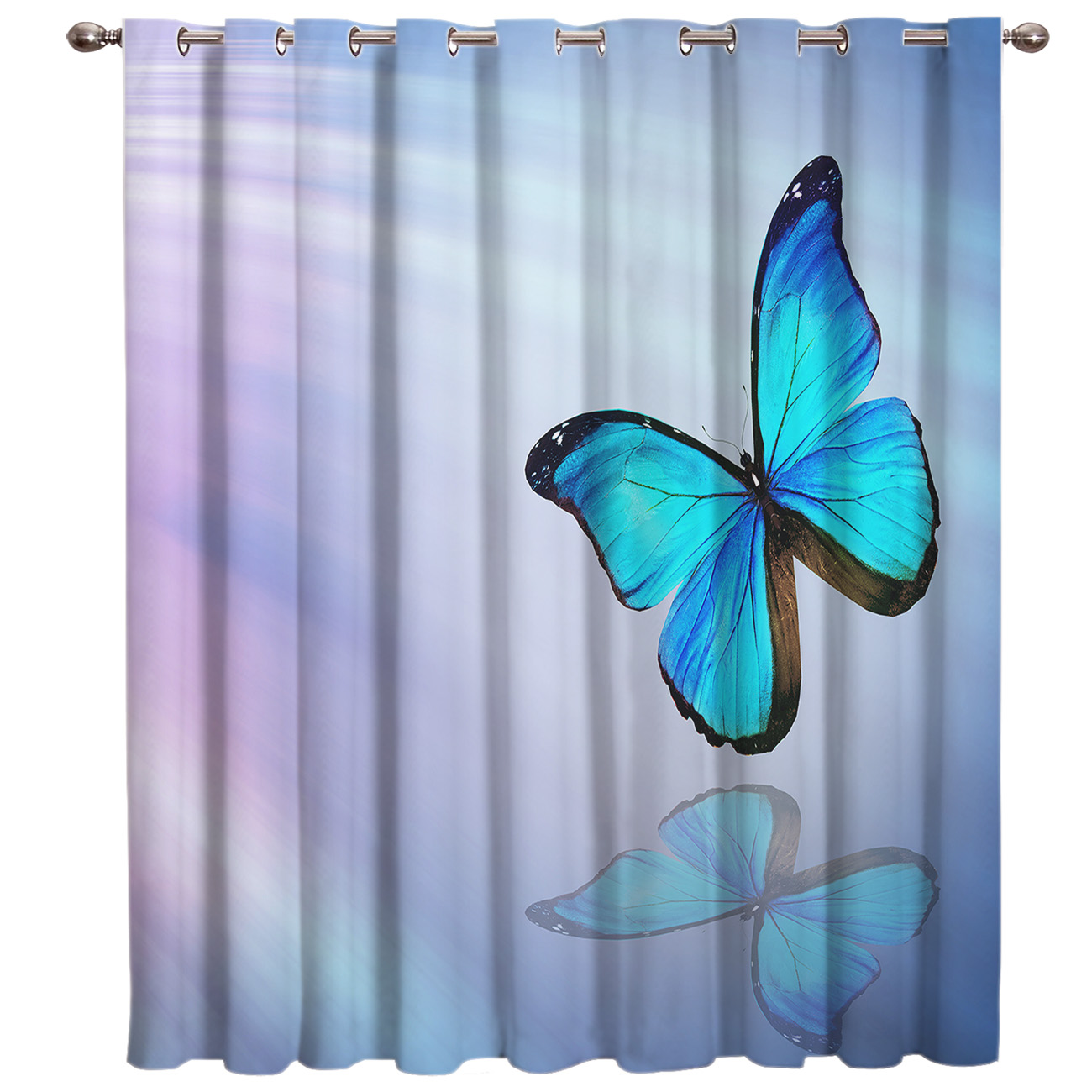 Animals Blue Butterfly Window Treatments Curtains Valance Living Room Bedroom Kitchen Outdoor Kids Window Treatment Sets Window
