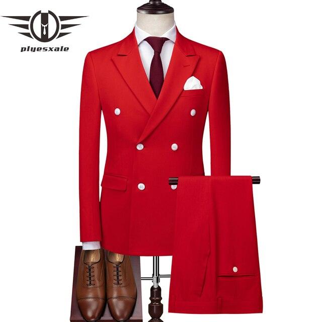 Plyesxale doble pecho hombres rojo gris claro 3 unidades boda trajes para  hombres Slim Fit Mens f005d74a092