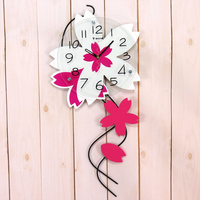 Wooden arch rustic wall clock mute clock decoration pocket watch quartz clock Home decoration wall stickers creative clock