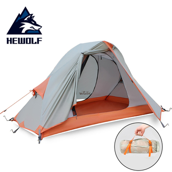 Hewolf Single Camping Tent Ultralight Portable Outdoor walk Cycling Tents PU4000mm Double Layer Waterproof Travel Tourist Tent