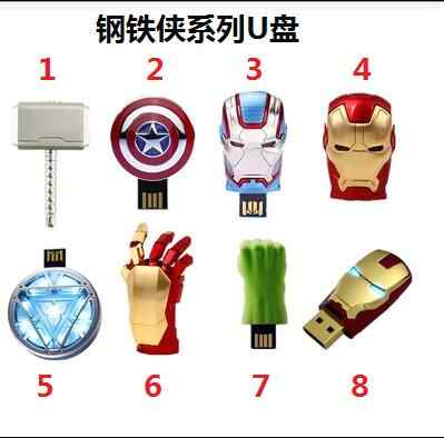 Hot Marvel Avengers USB 2.0 Flash Drive Pen Drive Homem De Ferro Hulk Capitão américa Martelo USB Flash Memory Stick de 8 GB 16 GB 32 GB 64 GB