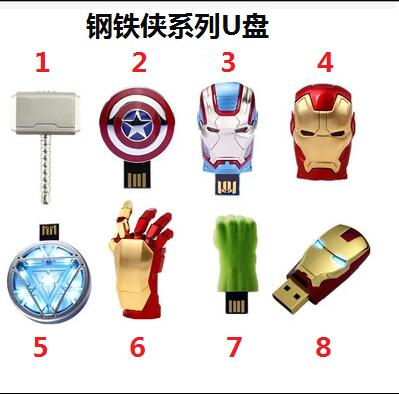 Hot Marvel Avengers USB 2.0-Stick Pen Drive Iron Man America Captain Hammer Hulk USB Flash Memory Stick 8 GB 16 GB 32 GB 64 GB