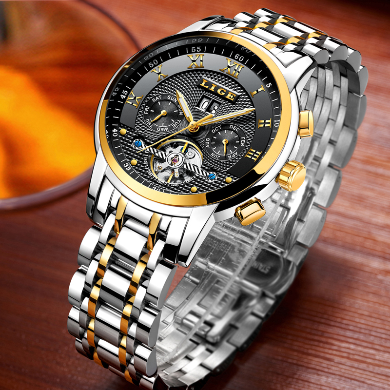 Mens Watches Top Brand Luxury Business Automatic Mechanical Watch Men Full Steel Waterproof Sport Wristwatch Relogio Masculino mens watches top brand luxury ik 2017 men watch sport tourbillon automatic mechanical full steel wristwatch relogio masculino