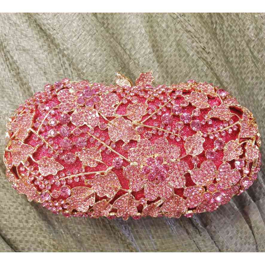 Pink flower shape Luxury crystal evening bag diamond women pochette party  evening handbag prom purse wedding 8c4fad9bcd3b