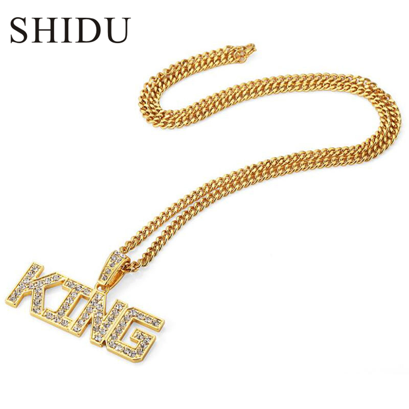 Men Hip Hop Full Rhinestone King Shape Pendants Necklaces Bling Bling Iced Out Cuban Link Chain Hiphop Necklace Men Jewelry Gift trendsmax hip hop iced out bling full rhinestone men necklace gold stainless steel chain necklace for men jewelry khn109