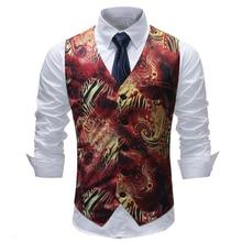 plus size 5xl moda hombre 2018 fashion print wedding suit vest slim fit gilet men casual waist coat for
