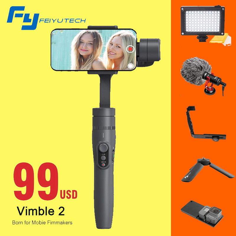 Feiyu vimble 2 Smartphone 3-Axes De Poche Cardan Stabilisateur pour iPhone X 8 6 7 Gopro Hero sjcam xiaomi