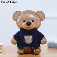 цена на Home Decor Plastic Clothes Bear Piggy Bank Creative Birthday Gift Child Coin Transparent Piggy Bank