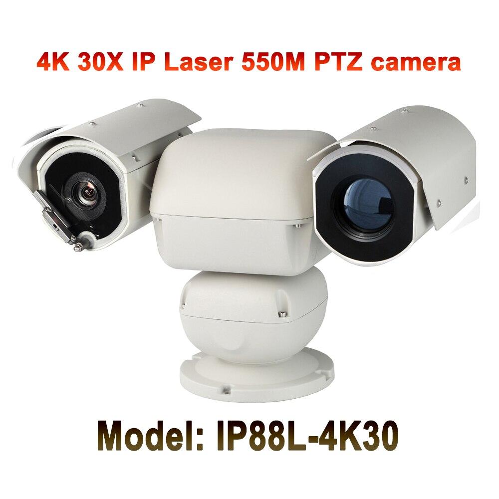 UltraHD 4 K (8MP) sécurité extérieure robuste vidéo Audio PTZ caméra IP 3840x2160 Laser IR 500 M Vision nocturne 30X Zoom automatique