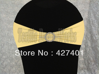 Hot Sale Light Yellow Spandex Bands / Lycra Band /Chair Covers Sash With Round Buckle For Wedding & Banquet