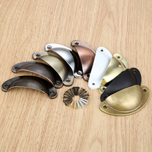 цена на 1Pc Shell Handle Pull Kitchen Drawer Cabinet Door Handle Furniture Knobs Hardware Cupboard Antique Iron Shell Pull Handles