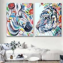 DIY colorings pictures by numbers with colors Colored animals bird frog picture drawing painting  framed Home