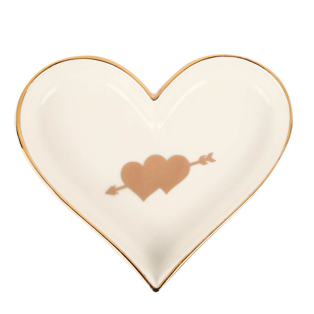 Креативный в форме сердца керамический поднос для обеденной тарелки подарок на День святого Валентина для сладкой посуды Ювелирная тарелка десертные ресторанные Держатели - Цвет: white double heart