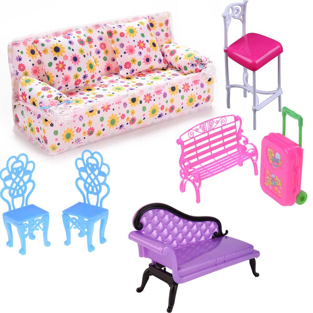Dollhouse 컴퓨터 의자 락킹 소파 벤치 의자 라운지 거실 침실 정원 어린이 가구 장난감 액세서리