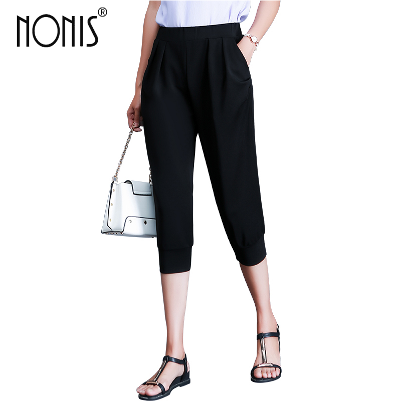 Nonis Women New Calf length Summer Spring Casual Cool Elastic Waist Harem   Pants     Capris   Plus size 4XL Black White Trousers