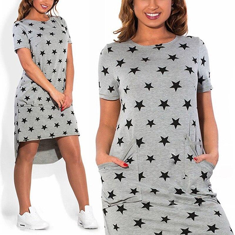 Mujeres estrellas imprimir vestidos regular dress mini casual o-cuello flojo dre
