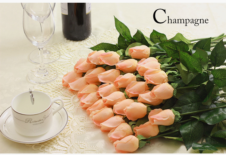 25pcs/lot Fresh Rose Artificial Flowers Real Touch Rose Flowers, Home Decorations For Wedding Party Or Birthday