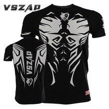 VSZAP T-shirt Men Sports Aerobics Running Boxing Clothing Boxing Gym T Shirt Cotton Mma Muay Thai MMA Suits Tee Shirt