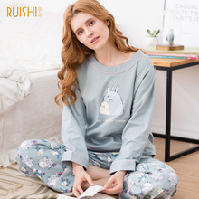 Sweet Autumn and winter pajamas  ladies's two units of household clothes set  cotton free sleeve