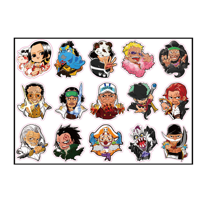 15pcs One Piece Monkey D Luffy Boa Fixed Gear/Luggage/Guitar/Motor/Cars/Refrigerator Stickers 21*29cm Cute ONEPIECE Sticker 6cm