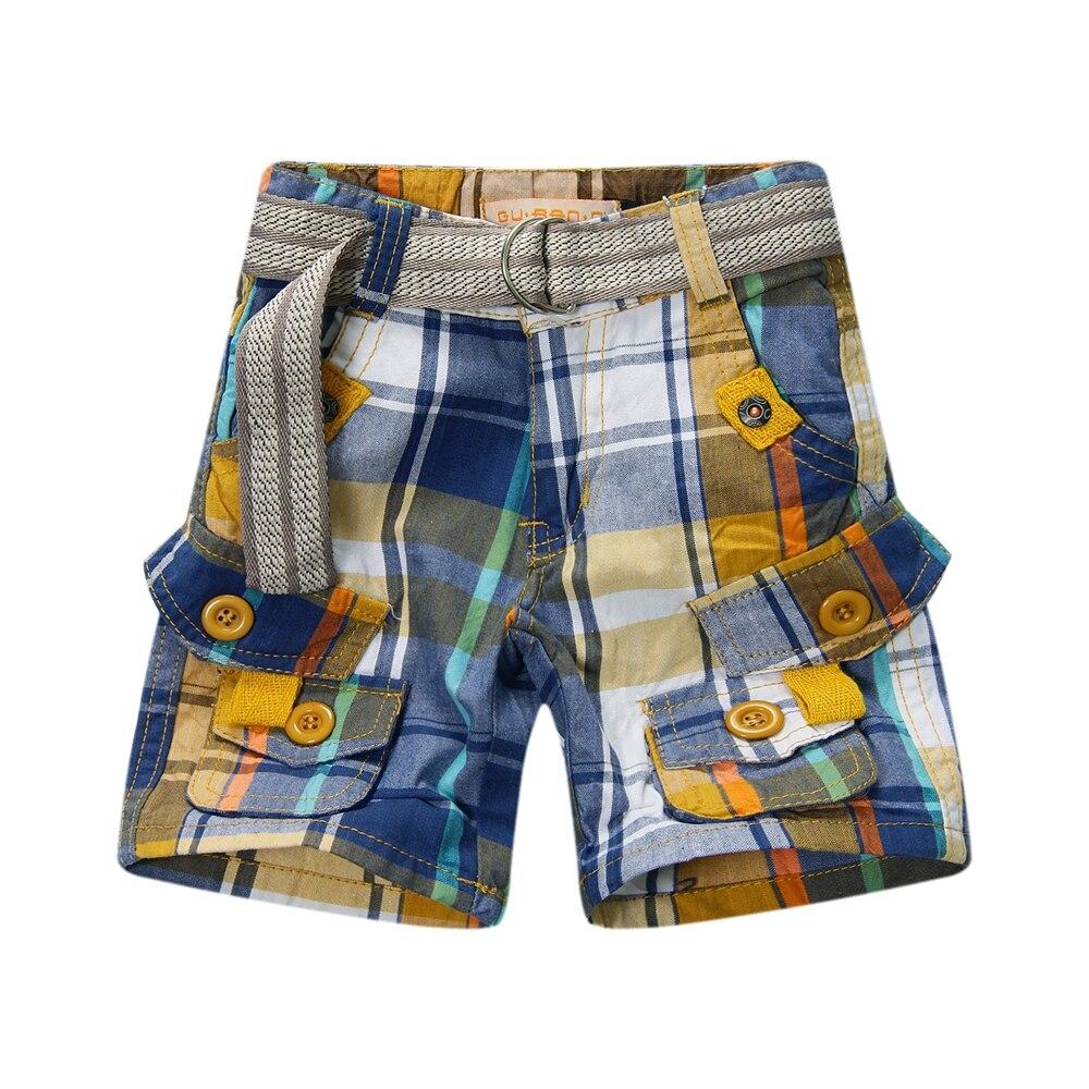2015 new arrival baby boy plaid shorts adjustable waist