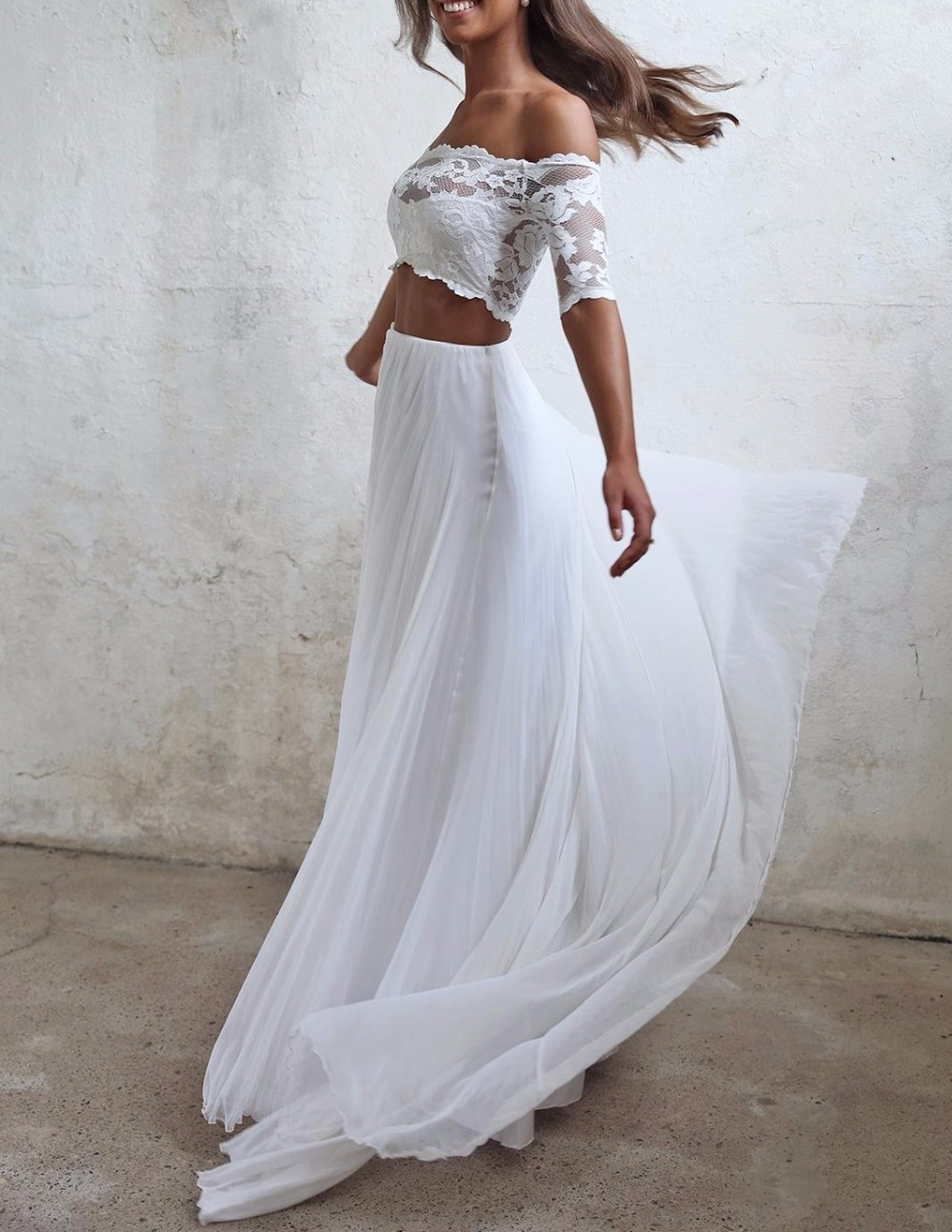 seductive lace 2 two piece wedding dresses summer chiffon