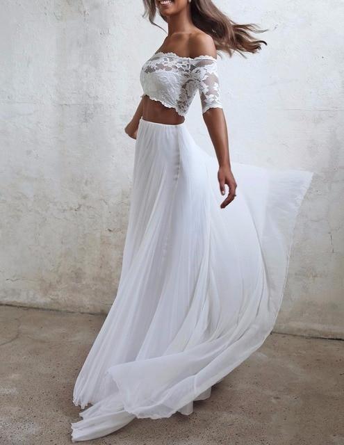seductora de 2 piezas vestidos de boda de gasa de verano vestido de