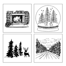 AZSG Winter Snow Scene Clear Stamps For DIY Scrapbooking Decorative Card Making Craft Fun Decoration Supplies