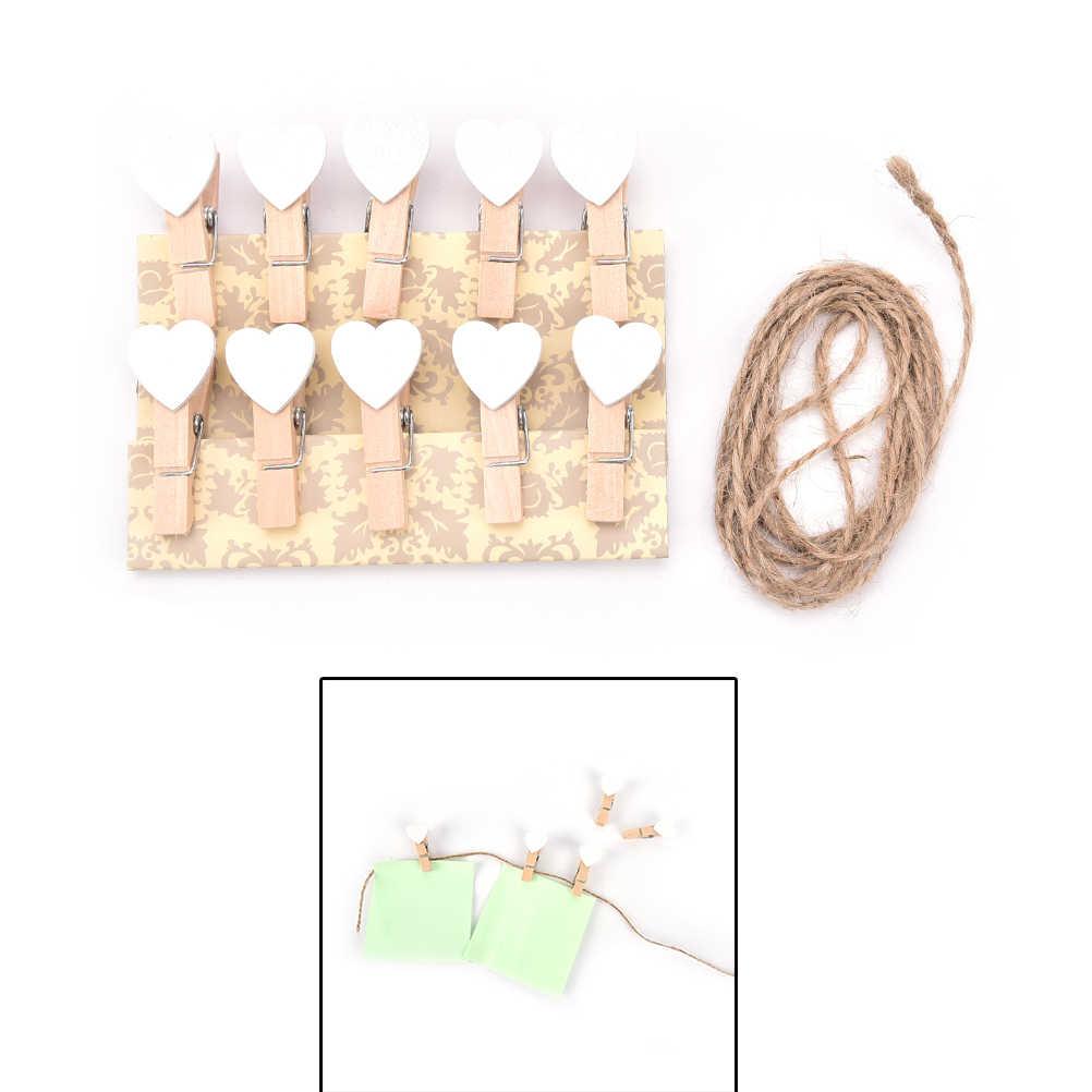 10Pcs Mini Kayu Peg Klip Bentuk Hati Cinta Foto Clamp Dekorasi Dekorasi Ulang Tahun Perlengkapan Pesta