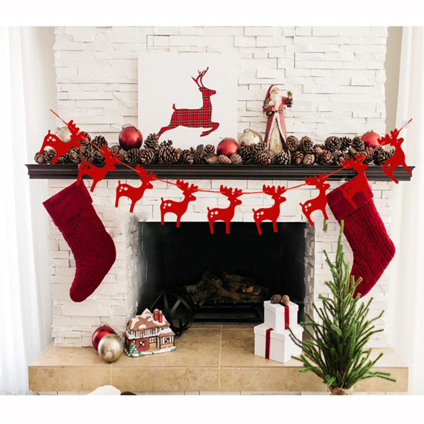 Wallpaper Sticker Christmas Elk Paper Garlands String Hanging Flag Year Party Decoration Wallpapers For Living Room 2018 B#