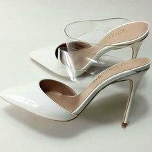 גודל גדול 35 44 פרדות Keshangjia דק העקב אישה נעלי נשים להחליק על משאבות הבוהן מחודדת מזדמן לבן אופנה נעלי