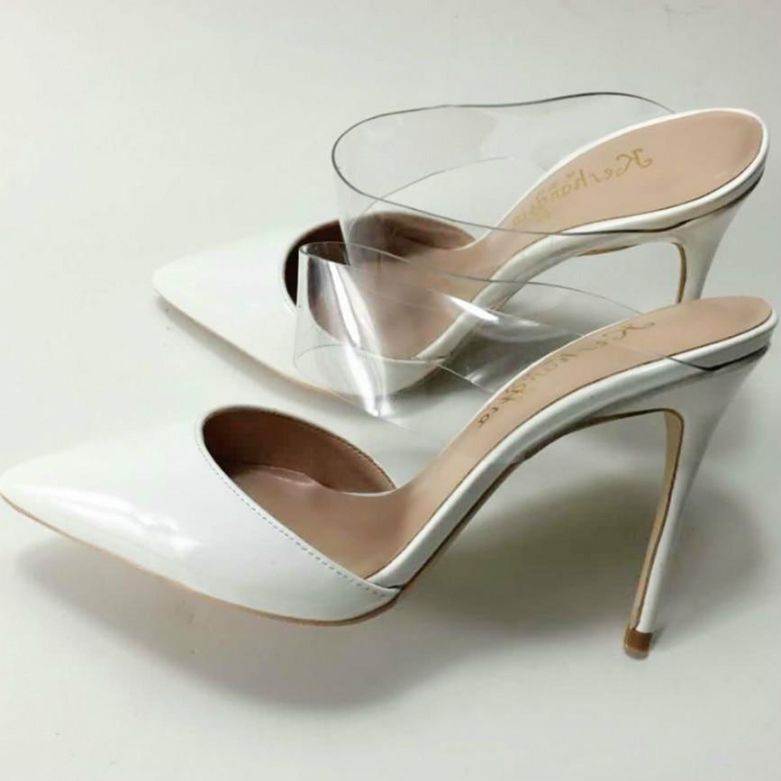 Keshangjia große Größe 35 44 maultiere dünne Ferse frauen Schuhe Frau beleg auf weiß Pumpt lässig spitz mode schuhe-in Damenpumps aus Schuhe bei  Gruppe 1