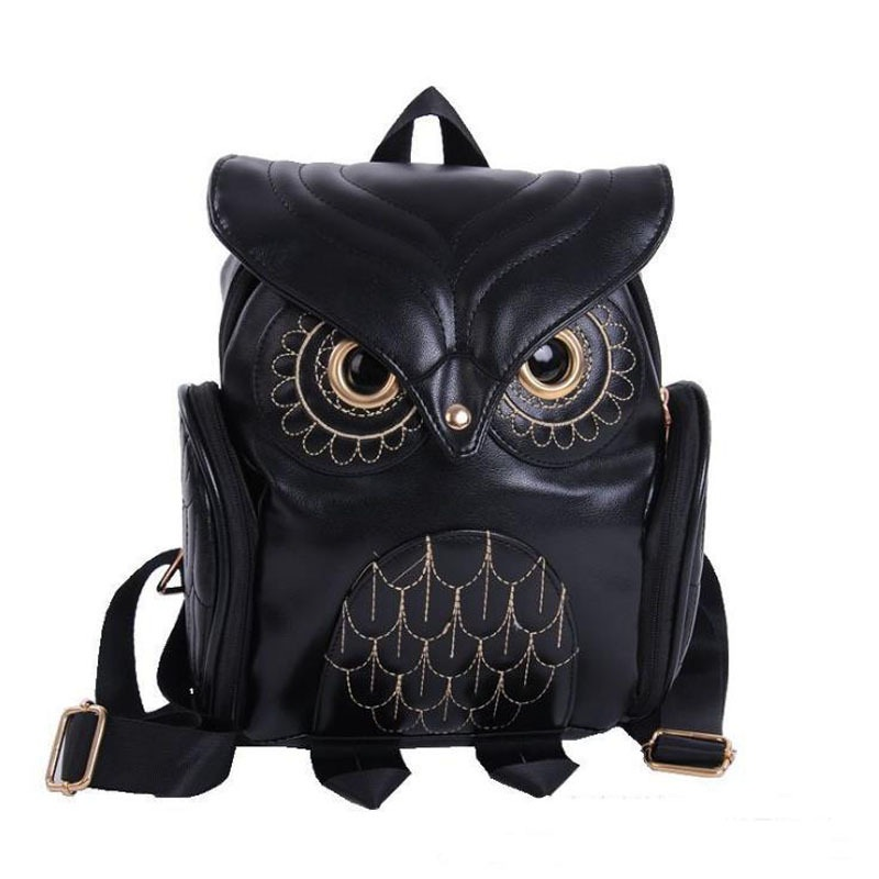 New Cute Embossed Owl Shoulder Bag PU Leather Women Cartoon Animal Backpack Travel Trend of Backpacks Z760 ljt 2017 winter creative personality women shoulder bag 3d stereo cool dog pu leather cute cartoon backpack travel