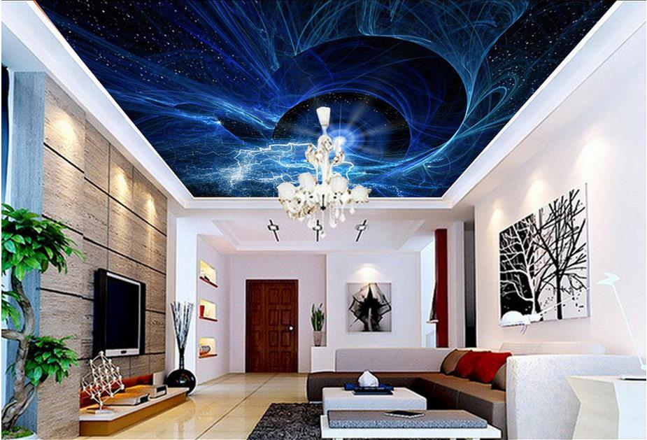 Custom Sky Ceiling Wallpaper Fashion starry sky Wallpapers For Living room Photo Wall Mural 3D Ceiling Wallpaper custom photo wallpaper 3d stereoscopic sky ceiling cloud wallpapers for living room mural 3d wallpaper ceiling