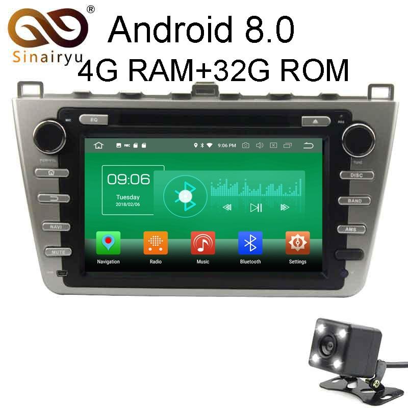 Sinairyu 4 г Оперативная память Android 8.0 автомобильный DVD для Mazda 6 2008 2009 2010 2011 2012 черный/Серебристые Octa core 32 г Радио GPS плеер головное устройство
