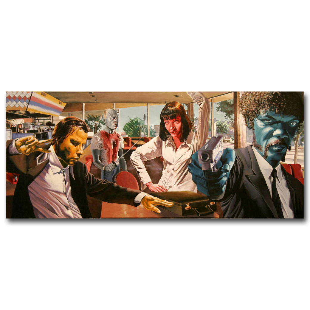 Kill Bill Pulp Fiction Reservoir Dogs Art Silkaffisch Skriv ut 13x31 20x48 inches Filmbilder för Home Living Room Wall Decor 17