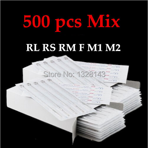 500PCS Assorted Size Disposable Sterile Tattoo Needles For Tattoo Machine Gun Ink Cups Tips Kits FREE