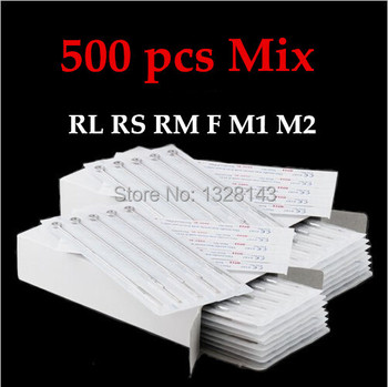 500PCS Assorted Size Disposable Sterile Tattoo Needles For Tattoo Machine Gun Ink Cups Tips Kits FREE SHIPPING