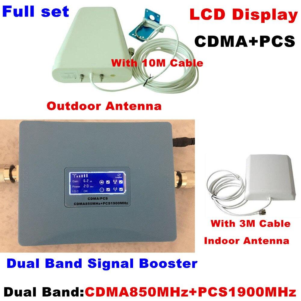 ÉCRAN LCD! Double bande GSM CDMA 850 MHz + PCS 1900 MHz répéteur de Signal de téléphone portable amplificateur de Signal amplificateur de Signal Kit de répéteur RF