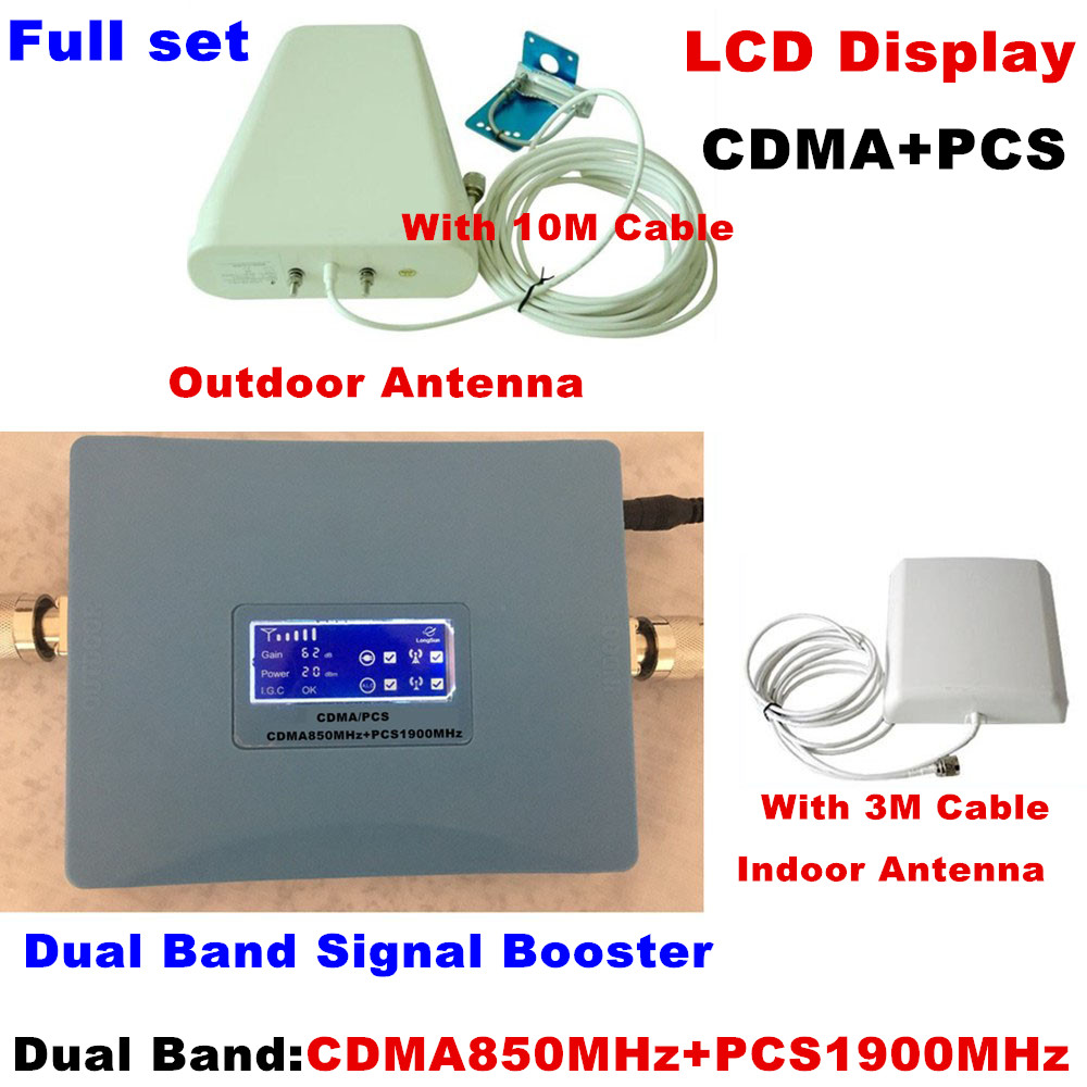 LCD Display ! Dual Band GSM CDMA 850MHz + PCS 1900MHz Signal Repeater Cell Phone Signal Booster Signal Amplifier RF Repeater Kit