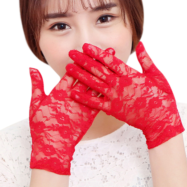 New Sexy Women Lace gloves Wrist full finger Ladies Evening Party Gloves sheer lace flower gloves mittens Black purple red 5