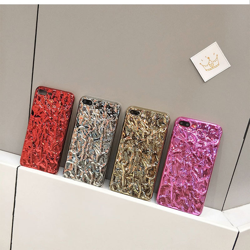 Hehan Stereo Foil For iphone6s Mobile Shell For iphone7plus Gold Foil Cover For iphoneX All-inclusive Soft Shell