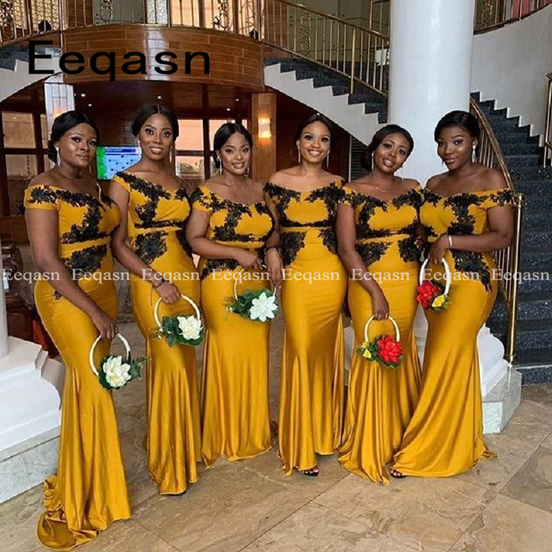 Gold Mermaid Bridesmaid Dresses Long Dress For Wedding Party 2019 African Woman Robe Demoiselle D'honneur Wedding Guest Dress