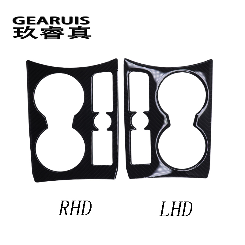Car Interior Water Cup Holder Panel Decoration LHD RHD drive carbon fiber Cover Stickers Trim For Audi Q3 2013-17 Car Styling for nissan r34 gtr carbon fiber radio surround stick on type rhd fibre interior garnish car styling in stock