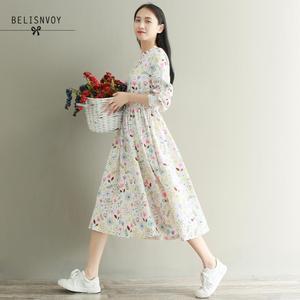 Image 4 - Mori menina outono inverno feminino robe babados veludo vestidos de festa manga longa lindo doce floral impresso vestidos femininos